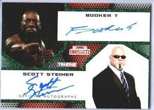 TNA Booker T Scott Steiner Dual Green Autograph 2009 Impact SN 5 of 10