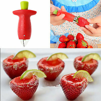 CH Strawberry Stem Leaves Huller Remover Removal Fruit Corer Kitchen Gadget Tool