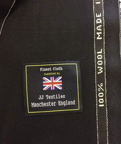 Made In England BULMER AND LUMB Black 100/% Wool Suit Fabric. 320g