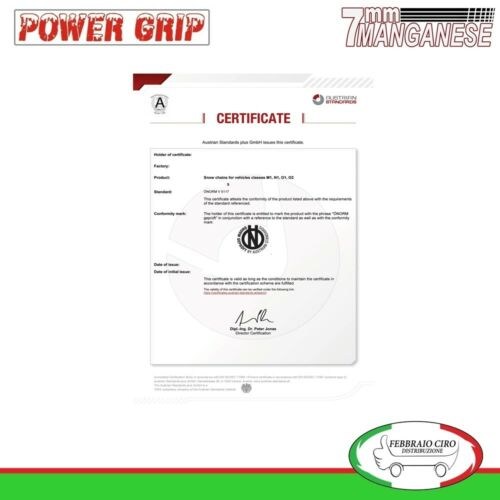 Catene da Neve Power Grip 7mm gr 130 per gomme 255//35r19 Alfa Romeo Giulia