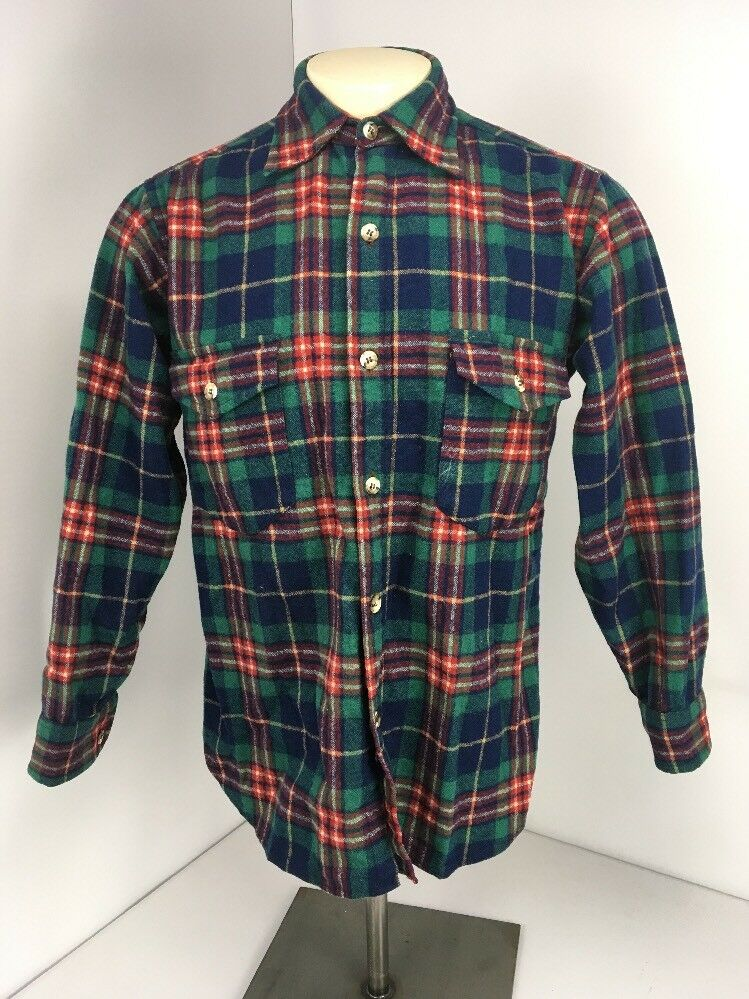 VTG 80s Pendleton Green bluee Red L S Wool Plaid Flannel Button Up Shirt Sz M