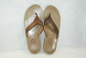 Tommy-Bahama-Men-039-s-Size-13-Brown-Leather-Thong-Flip-Flops-Sandals-Casual-Shoes