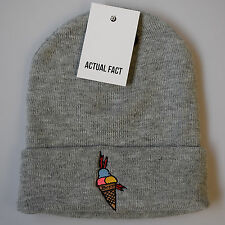 Actual Fact Gucci Mane Ice Cream Hip Hop Beanie Winter Roll Up Grey Wooly Hat