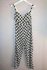 RUMOR-Brand-Black-White-Square-Print-Jumpsuit-Size-12-BNWT-SG14