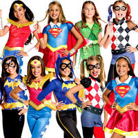 Superhero Girls Fancy Dress Comic Book Villain Halloween Childrens Kids Costume