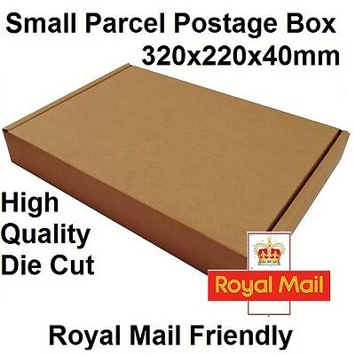 x75 Cardboard Small Parcel Postage Boxes 320x220x40mm High Quality Die Cut Box