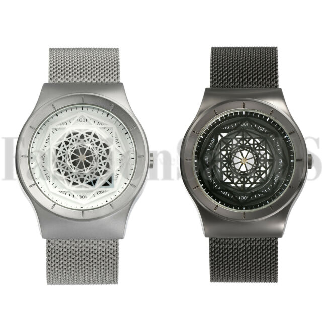 Luxury Men's Geometry Dial Watch Quartz Steel Mesh Band Wristwatches Gift Xmas