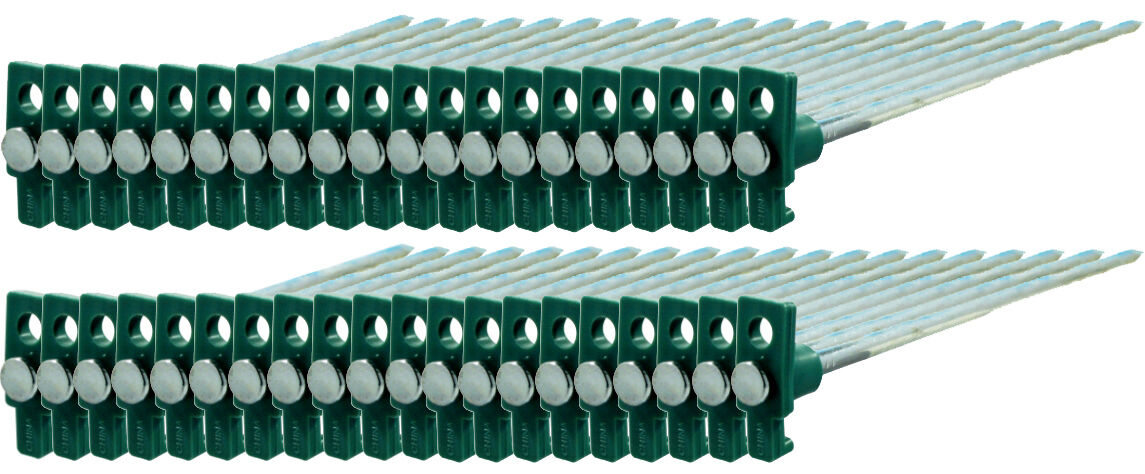 100pc Heavy Duty STEEL Metal Tent Peg Canopy Stakes Pegs 10  - Green Stopper