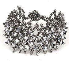 "Silver Plated Beaded Bracelet Women's Fashion Jewelry - 3"" - New"