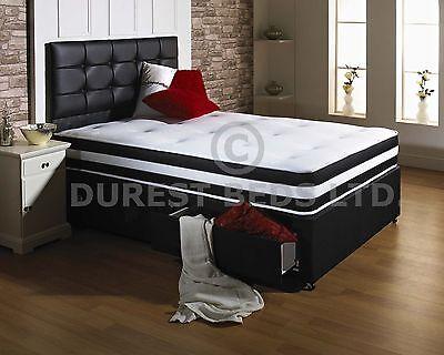 BLACK AIR MEMORY FOAM BED DIVAN MATTRESS  HEADBOARD 6FT 5FT KING 4FT6 DOUBLE 3FT