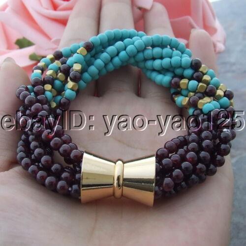 "8/"" 7 brins Bleu Turquoise Grenat Bracelet"