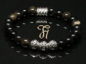 Obsidian-schwarz-Armband-Bracelet-Perlenarmband-Silber-Beads-8mm