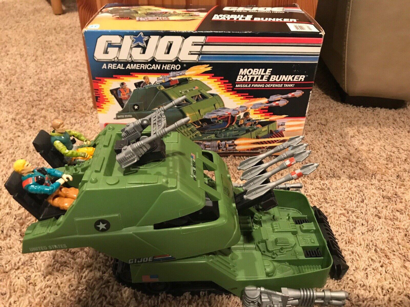 Vintage GI g.I. Joe Joe Joe Mobile Battle Bunker W  Box & Extra Figures 1990 Hasbro bfcd01
