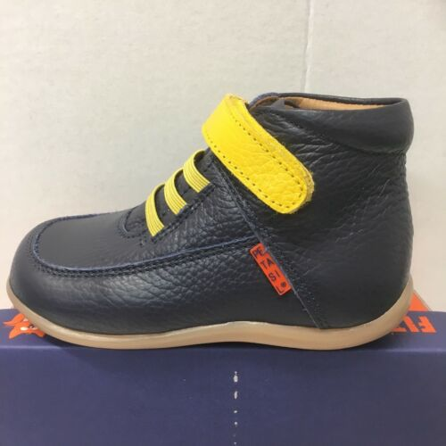 21705 Petasil Anderson Infant Boys Boots In Navy Leather with Yellow