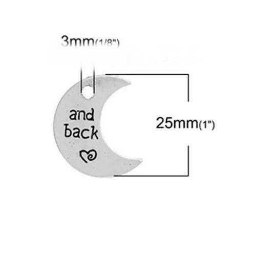 10 x Antique Silver Moon and Back Charms-Crescent-Le Général-Love Hearts 25 mm