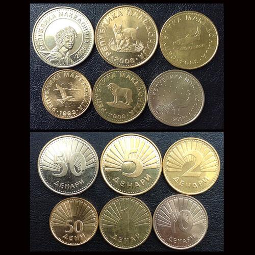 UNC 50 Deni +1+2+5+10+50 Denars 1993-2008 Macedonia Set 6 Coins M-1