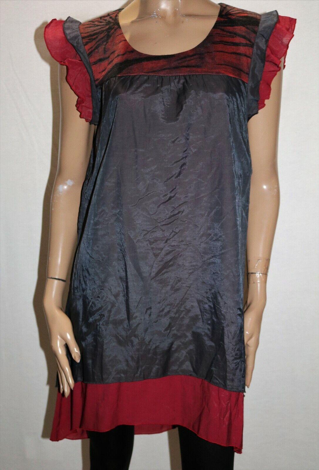Boo Radley Brand Grey Red Multi Silk Devine Night Dress Size 12 BNWT  RF94