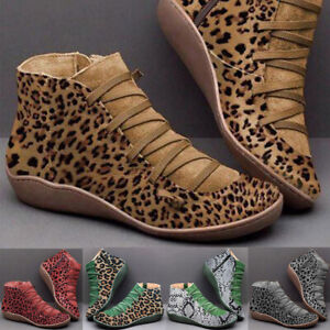 Women-039-s-Ankle-Martin-Boots-Flats-Shoes-Leopard-Zipper-Round-Toe-Lace-Up-Booties