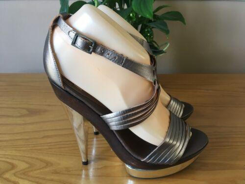 Eu Rrp Pewter £ Faith 38 New Toe Sandali 60 Peep Platform 5 Leather Strappy Uk Cqd7q1z