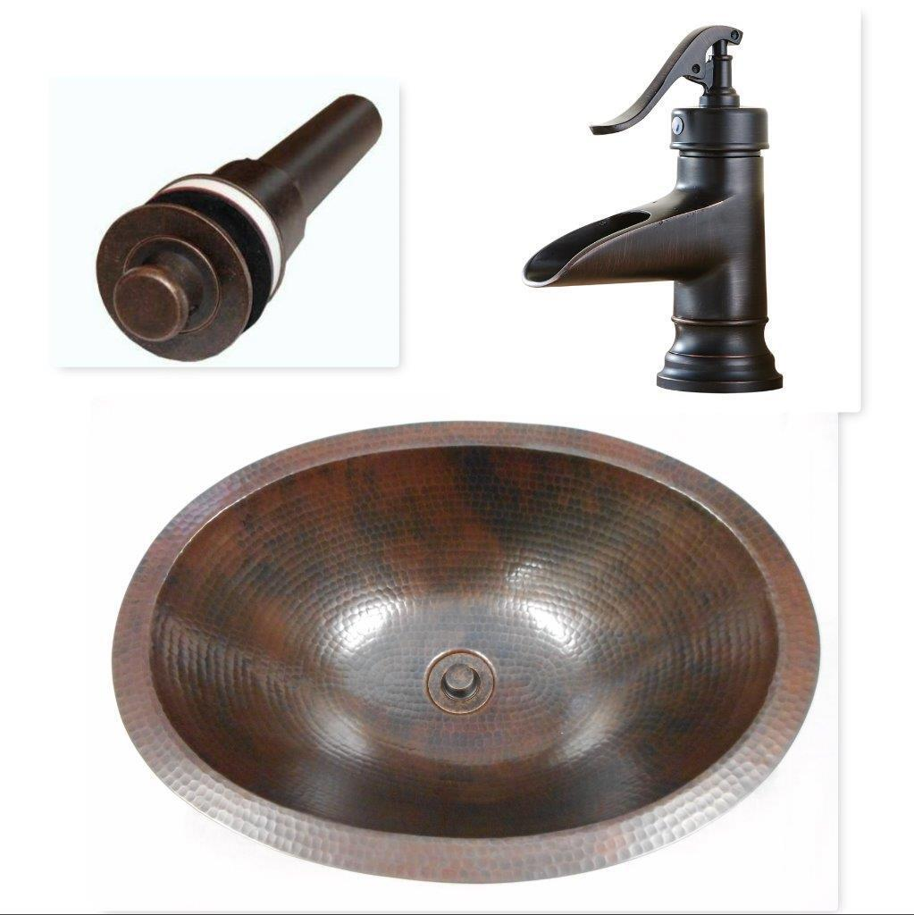 Picture of: 19 Oval Copper Bathroom Vanity Sink With Lt Drain Orb Faucet 5 For Sale Online
