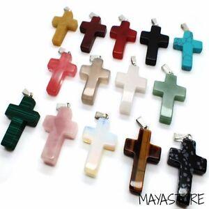 Cruz-Cross-Colgante-Fuerza-Piedra-kraftstein-Preciosa-Ambar-Natural-AGATA