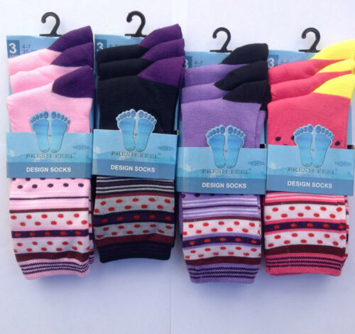 New Ladies Womens Girls Casual Cute Colourful Socks Size 4-7