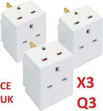 2 Way Main 3 Pin Adaptor 13 AMP Unfused Double Socket Converter Splitter Household Multiplug Pifco