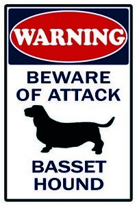 Attention-Basset-Hound-Dog-Chien-Plaque-Plaque-Etain-Signer-20-X-30-cm-CC1023