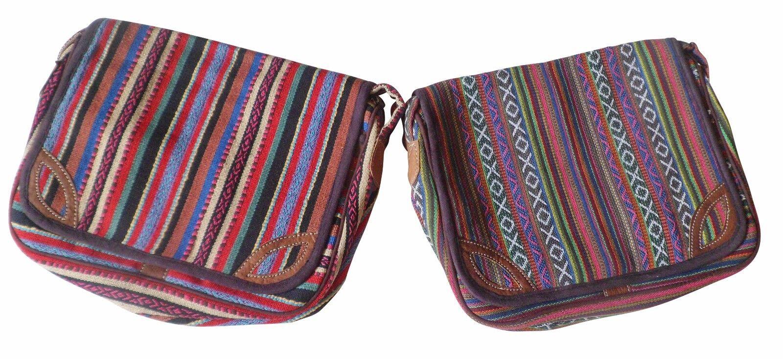 Fair Trade Nepalesisch Gheri Textil & Buffalo Leder mittelgroß Schultertasche | Discount