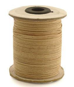 100m-Baumwollband-0-13-1m-natur-1-mm-rund-poliert-gewachst-Rolle-Spule