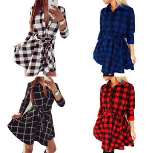 Damen-Kariert-Longshirt-Langarm-Bluse-Hemdkleider-Pulli-Tunika-Minikleid-Plus-HS