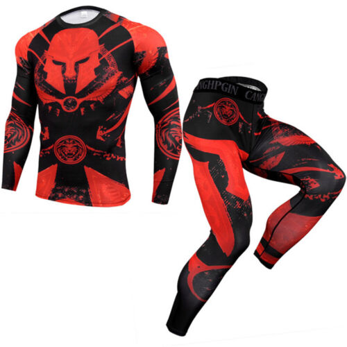 Details about  /Men Fitness Tracksuits Compression Long Sleeve Shirt Jogger T-shirt Leggings
