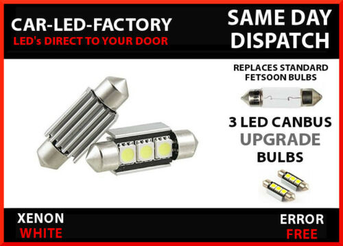 AUDI A4 B6 2000-04 CANBUS NO ERROR NUMBER PLATE 3 LED LIGHT BULBS 36MM 269 C5W