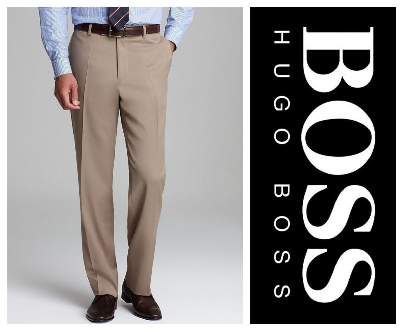HUGO BOSS JEFFREY SOLID WOOL REGULAR FIT BROWN DRESS PANTS Sz 38  NEW     249