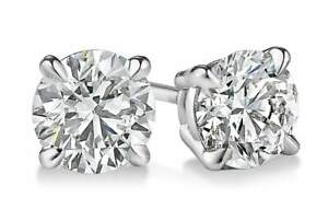 4 ct. White Sapphire Round Stud Earrings in Solid Sterling Silver w/Gift box