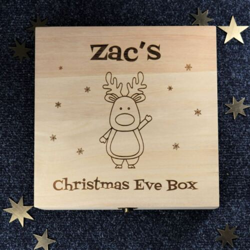 Personalised Christmas Eve Box Engraved Wooden Box Rudolph the Reindeer
