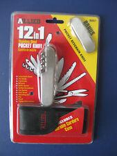 ALLIED 12 in 1 Stainless Steel Pocket Knife W/Bonus Pocket Keychain Knife & Case
