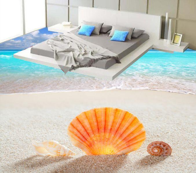 3D Naranja Playa Shell Piso impresión de parojo de papel pintado mural 09 Calcomanía 5D AJ Wallpaper