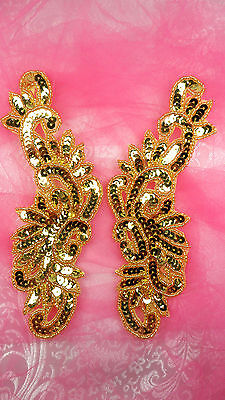 FLAME APPLIQUES SEQUIN BEADED RED FIRE MIRROR PAIR DANCE COSTUME PATCH 0173