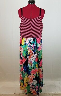 Women\'s Maurices Dress Plus Size 2x Spaghetti Straps Maxi Length Bright  Floral | eBay