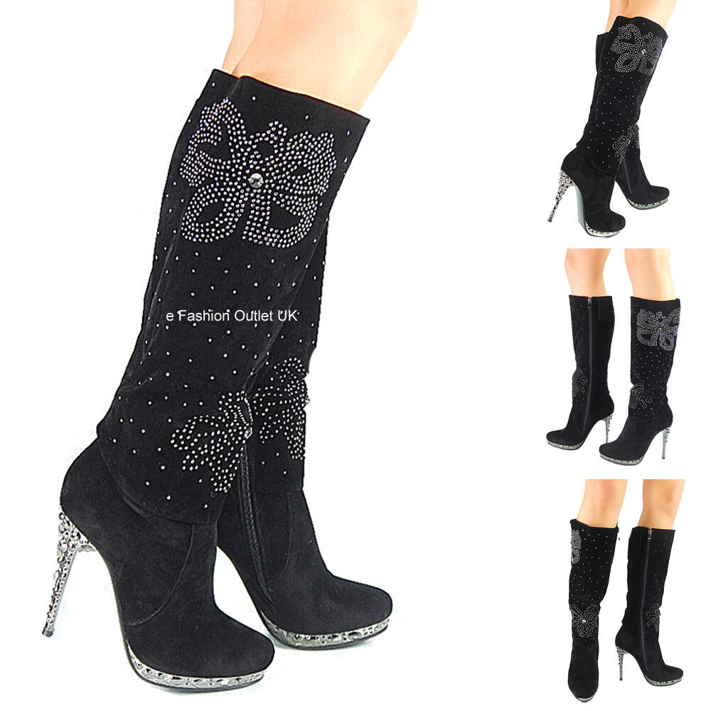 NEW femmes LADIES  FAUX SUEDE HIGH HEEL KNEE HIGH DESIGNER bottes chaussures Taille