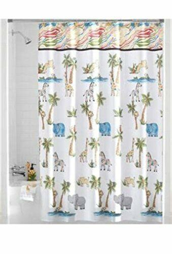 Saturday Knight Shower Curtain Safari Fabric Animal Kids Zebra Elephant Bathroom