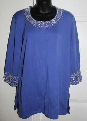 Contemplative Bob Mackie Large L Purple Beaded And Simulated Pearl Trimmed Sweater 3/4 Slv Clothing, Shoes & Accessories