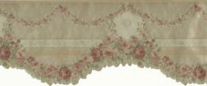 Wallpaper-Border-Victorian-Silk-Gold-Die-Cut-Floral-Garland-Swag-Green-Red