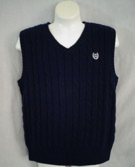 Chap/'s Boy/'s XLarge 18-20 Blue V-Neck Knit Sweater Vest Cable Knit Shirt NEW