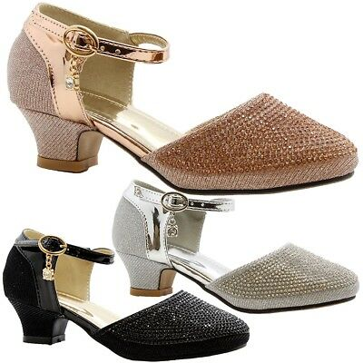 Girls Kids Rose Gold Low Mid Heel Diamante Shoes Ankle strap Full Toe Sandals