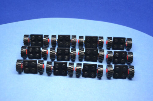 LEGO 12 X GOMME RUOTE PIASTRA NERA 2x2 ROSSO asse piccole PNEUMATICI 122c01
