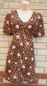Mini-Vestido-en-el-estilo-Marron-Rosa-Floral-Animal-Print-Smock-Tunica-De-Te-Slip-S-M