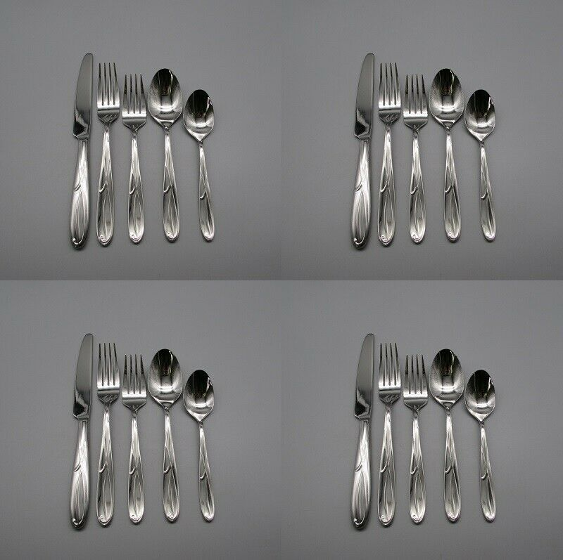 20pc SET - Mikasa Stainless COCOA BLOSSOM Service for Four NEW