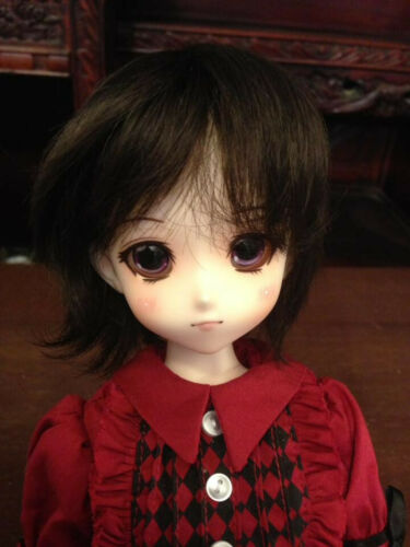 7-8in Wig Chocolate Brown Short Bob Style with Bangs Fiber Brand New BJD MSD
